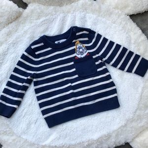 BOGO What's Up Doc Striped Navy Sweater